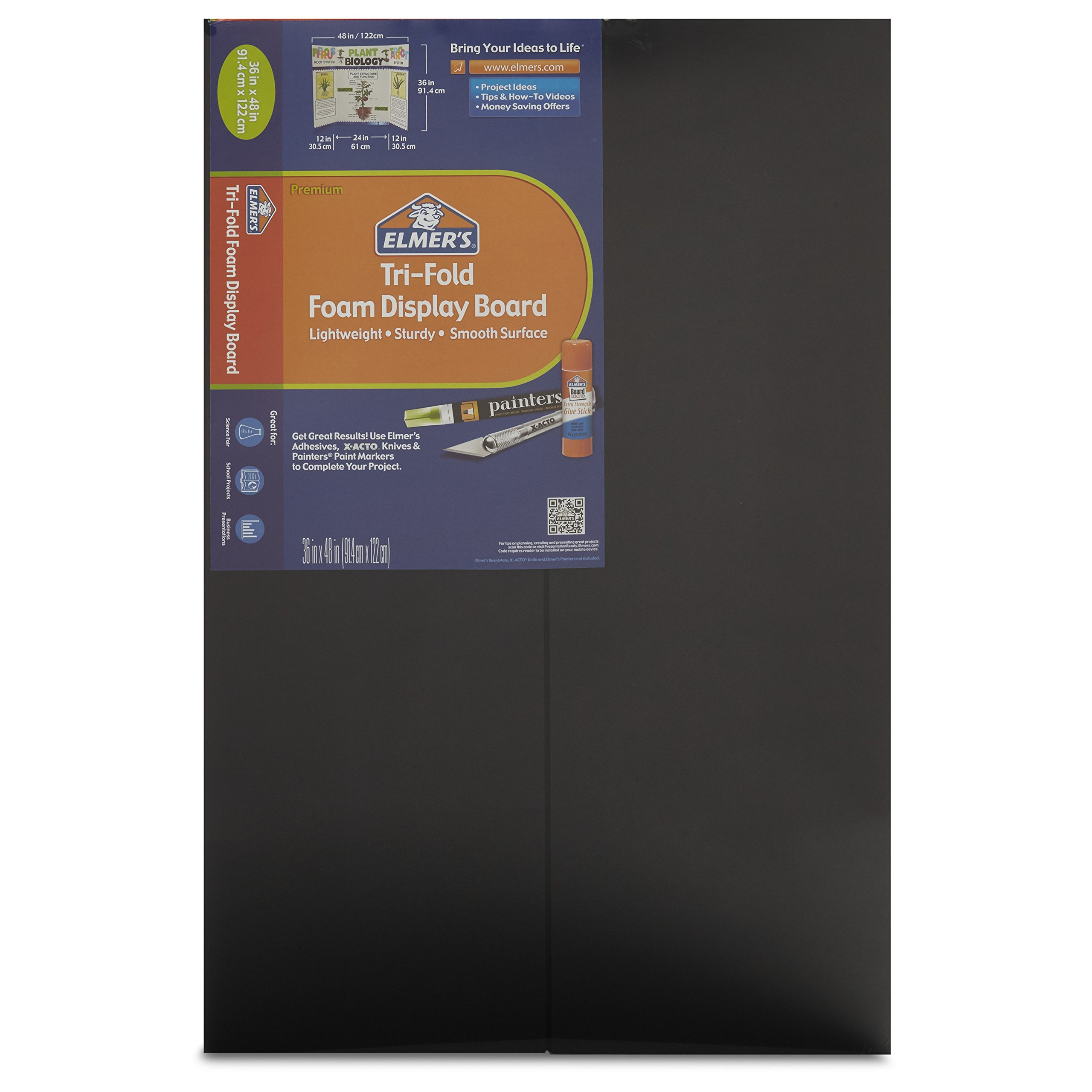 Elmer's Tri-Fold Premium Foam Display Board, Black, 36x48 Inch (Pack of 12)