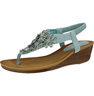 ce22798e01a69a Ladies Leather Look Fashion Diamante Bead Flat Toe Post Flip Flop Summer  Sandal Shoes…