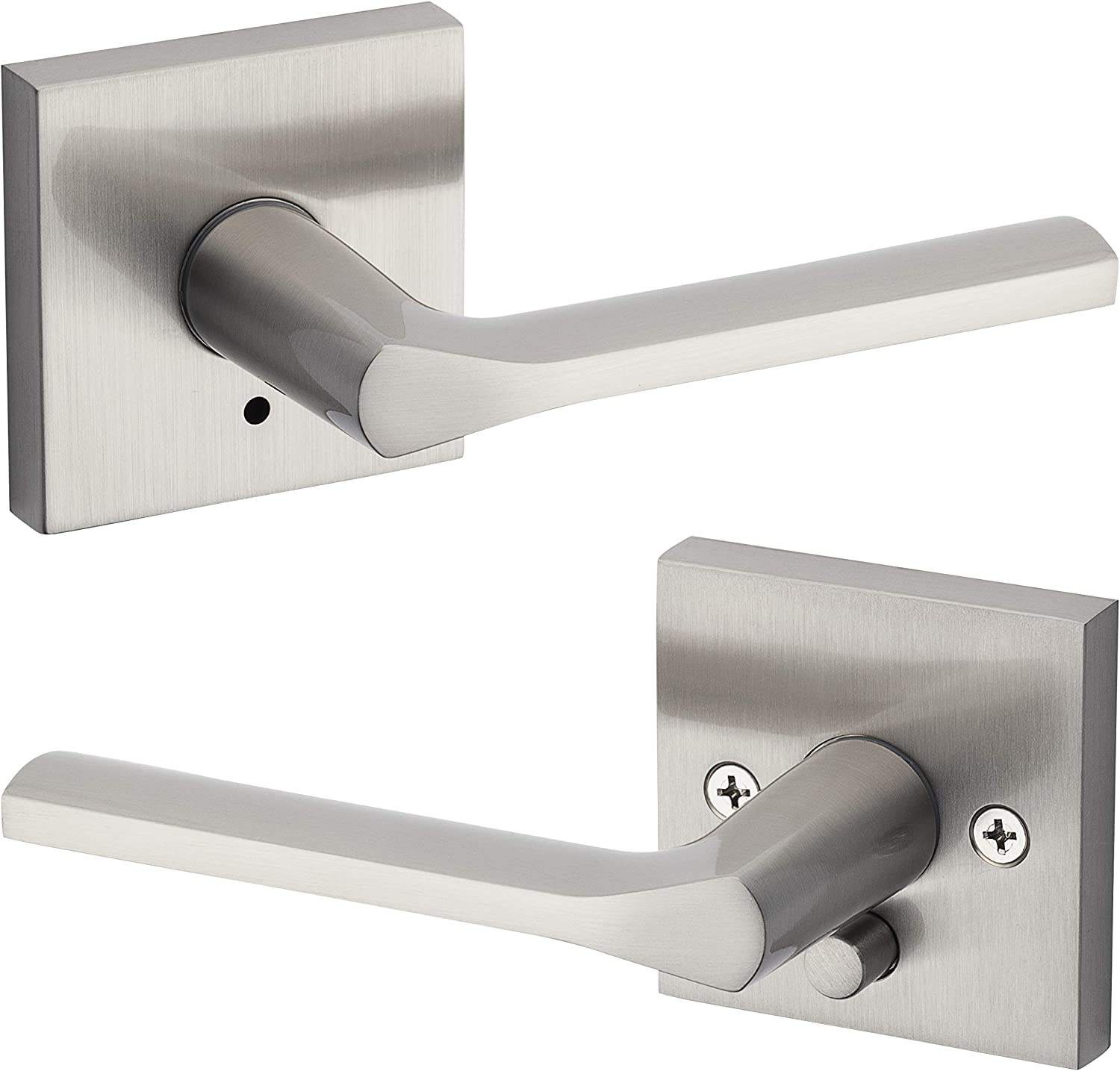 Pack of 2 Kwikset 91550-004 Milan Door Handle Lever with Modern Contemporary Slim Round Design for Home Bedroom or Bathroom Privacy in Polished Chrome