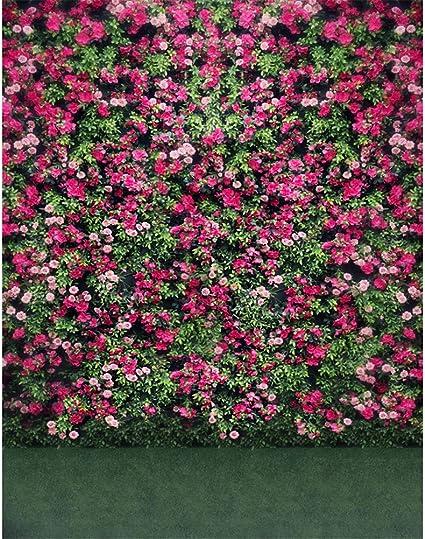 5 x 7 fotografía telón de fondo Flores Jardín Floral rojo verde planta fondo para boda Photocall tamaño personalizado: Amazon.es: Electrónica