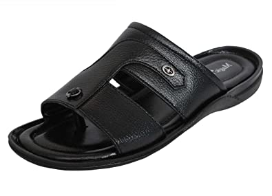 f7082b9c1 MAGIC TREE Men's Black Synthetic Leather Sandals: Buy Online at Low ...