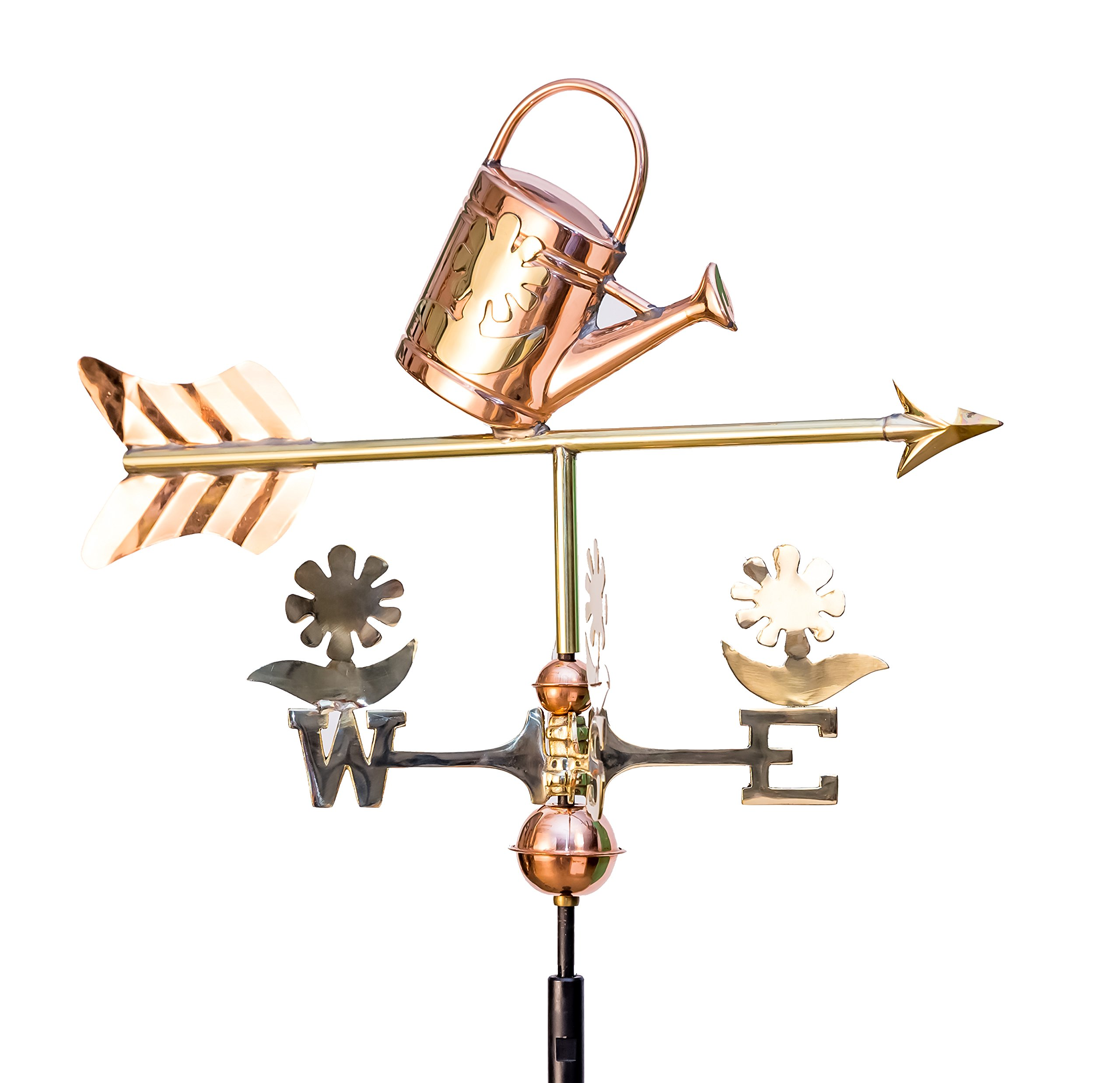 East Coast Weathervanes and Cupolas Garden Watering Can Weathervane Polished Copper (Copper, W/ Roof Mount)
