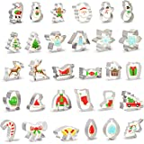 30 PCS Christmas Cookie Cutter Set Christmas Tree and More Biscuit Fondant Cutters Stainless Steel for Holiday Cookies, Chris