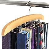 HANGERWORLD Wooden Tie Rack Hanger 24 Ties Holder Organizer Storage Rack with Hook