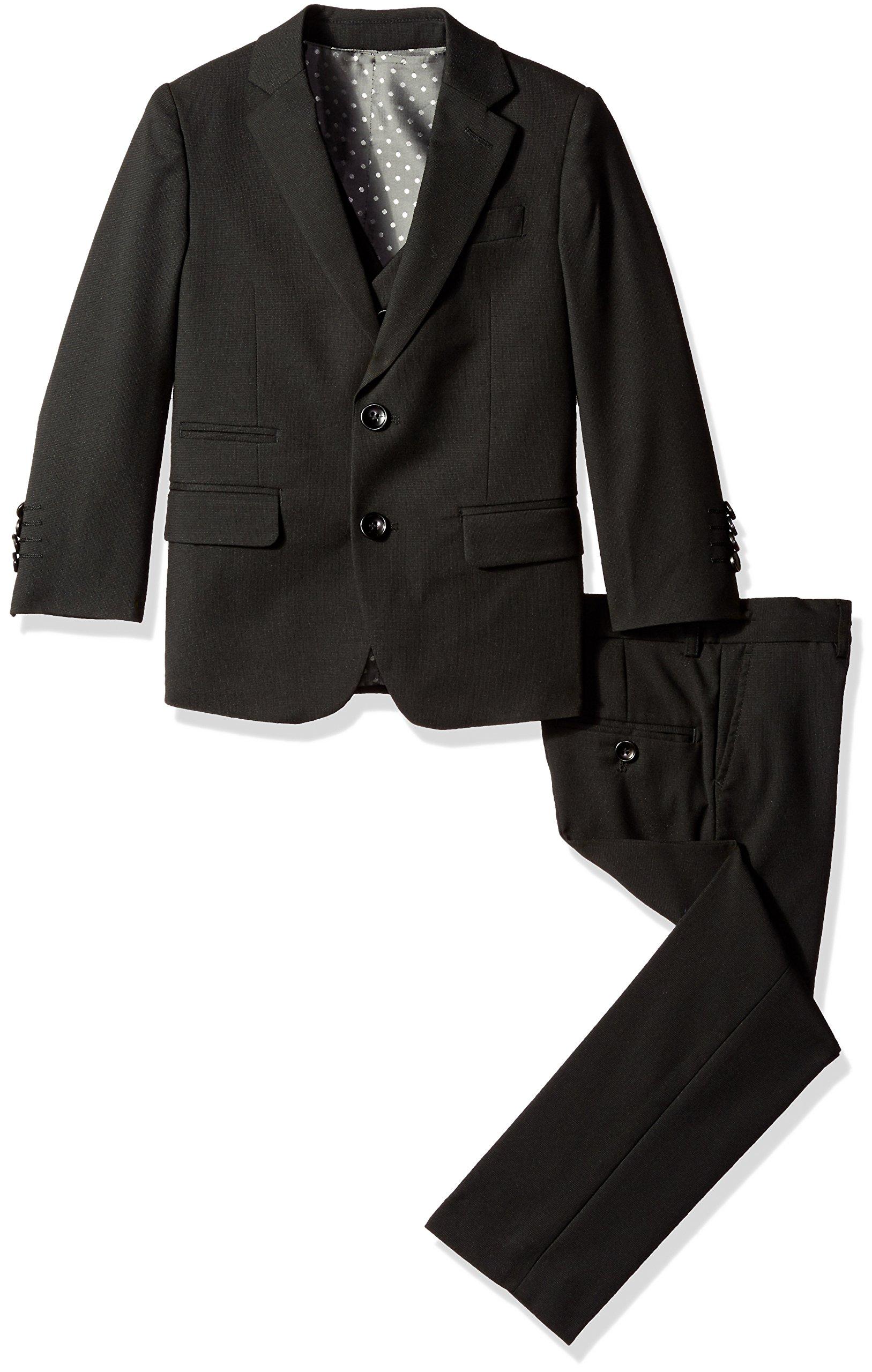 Isaac Mizrahi Boys' Big 3 Piece Two Button Birdseye Suit Set, Black, 10