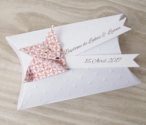 Boîte à Dragées Coussin Renard En Origami Papier Orange