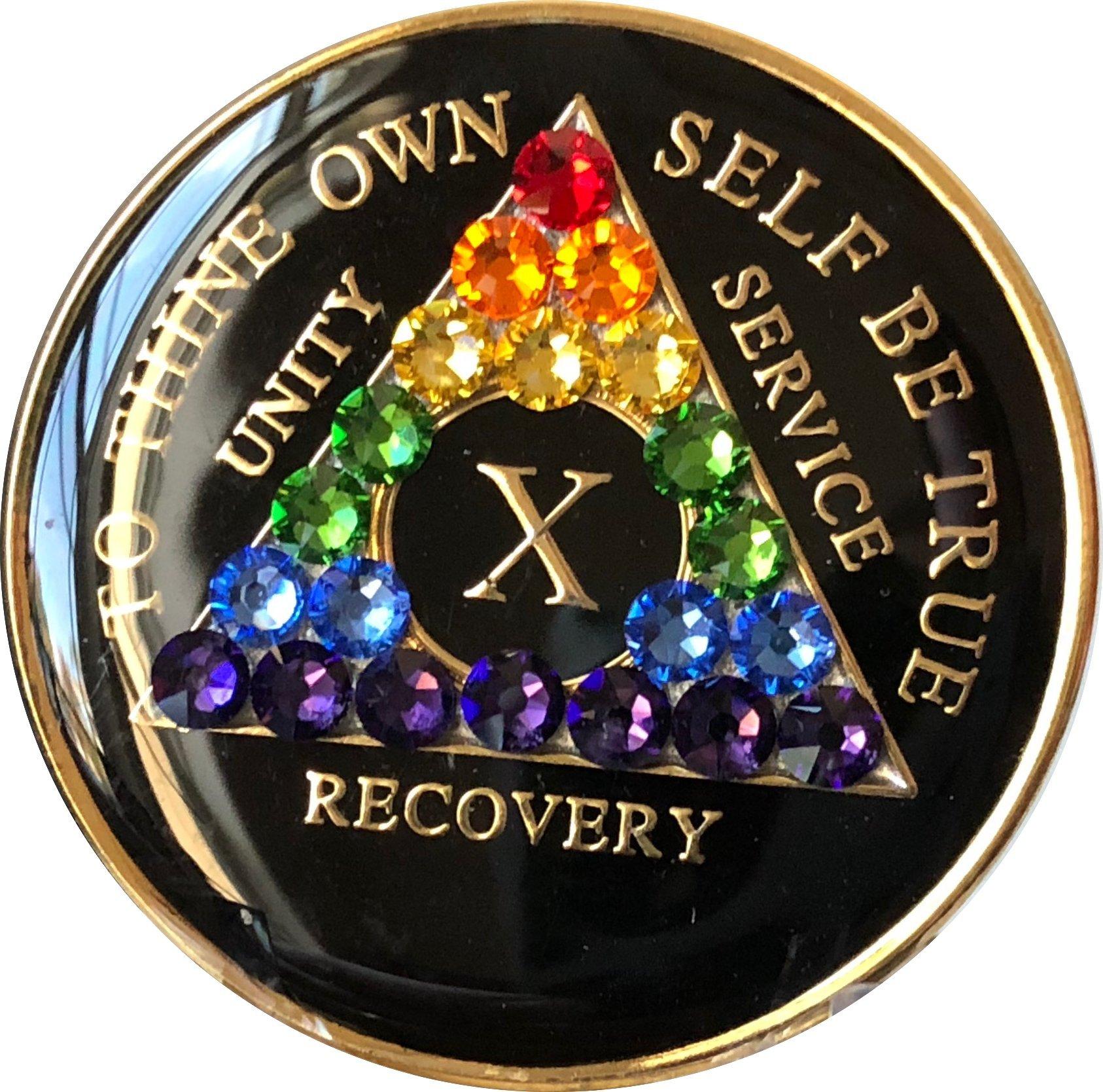 10 Year Black Rainbow Swarovski Crystal Tri-Plate AA Medallion Chip X