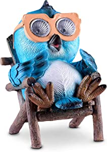 Owl Solar Garden Decorations Figurine | Outdoor LED Decor Figure | Light Up Decorative Statue Accents for Yard, Patio, Lawn, or Deck | Weather Resistant | Great Housewarming Gift Idea (Blue - 1 Pack)