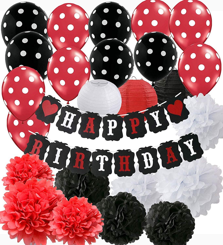 Decoraciones de la fiesta de cumpleaños de Mickey Mouse rojo Decoraciones de la fiesta de cumpleaños negro rojo blanco Suministros de la fiesta de ...