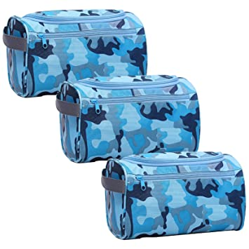 Amazon.com   Toiletry Bag 3 Pack Travel Toiletries Bag Sturdy Hanging  Organizer for Women Men Cosmetic Make up Bag Case (Military Blue)   Beauty 26135a4da898b
