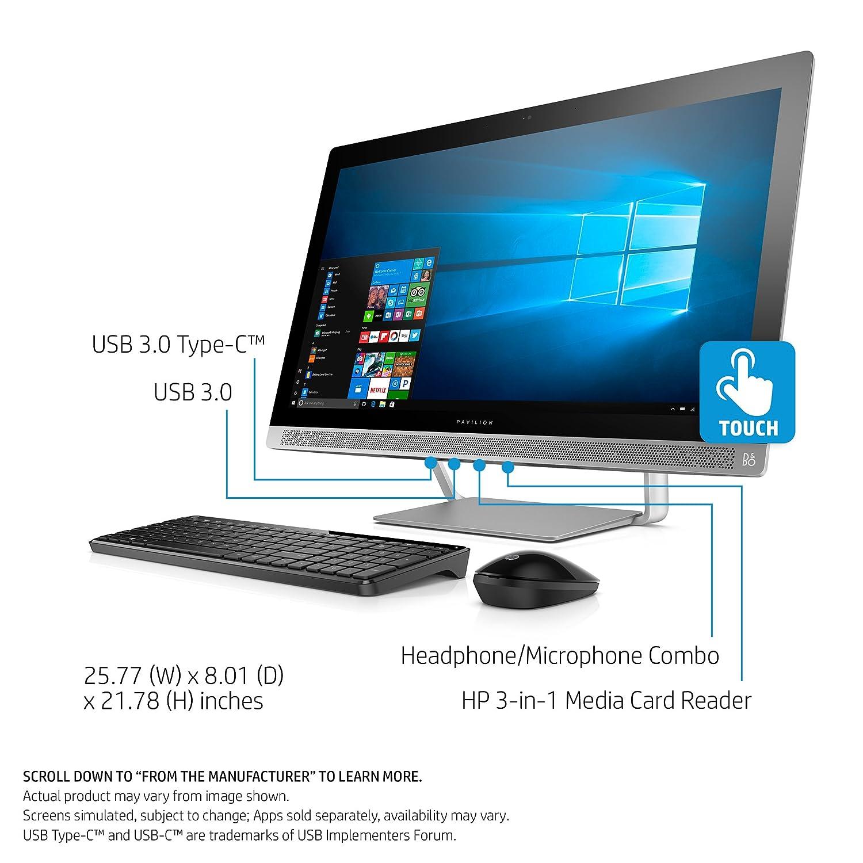 HP Pabellón 27 pulgadas ordenador AllinOne, i57400T, 12GB RAM, disco duro de 1TB, Windows 10,: Amazon.es: Informática