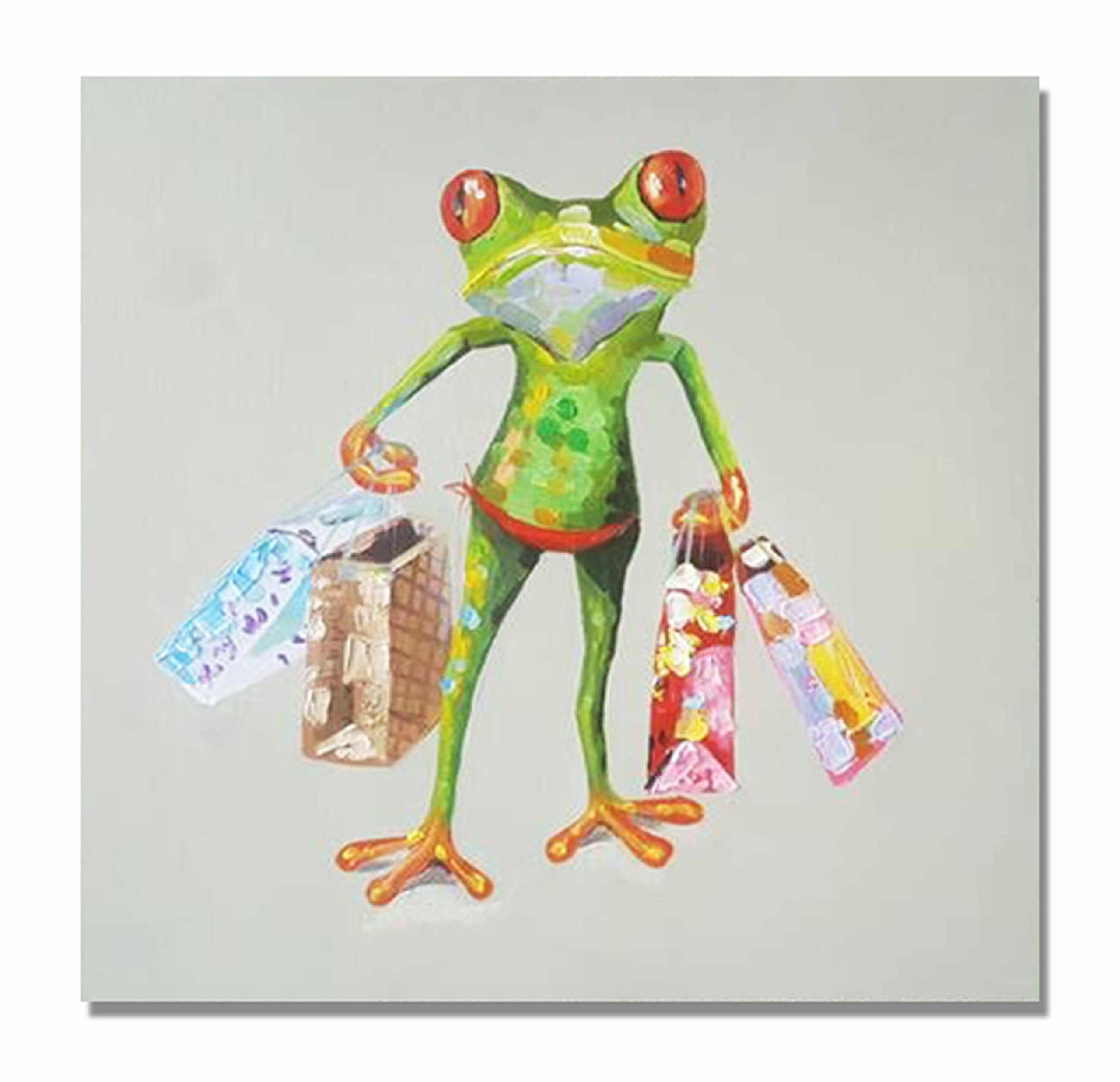 Frog Paintings 100% Hand Painted Cute Animal Canvas Oil Painting Stretched and Framed Ready to Hang Living Room Bedroom Office Bathroom 24'' x24''