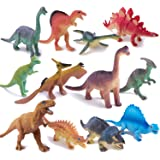 Dinosaur Toys,Plastic Dinos Figures Play Set with Carrying Case,5-7 Inch, Pack of 12