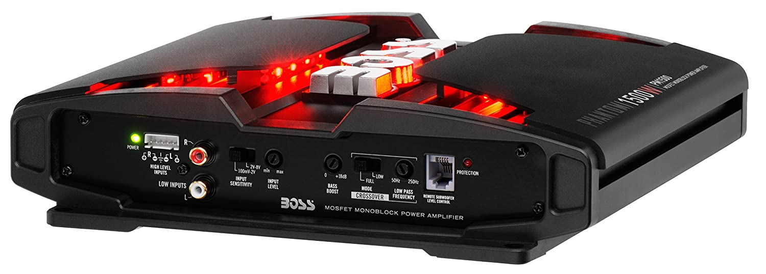 Boss Audio Pm1500 Phantom 1500 Watt 2 4 Ohm Stable 1000 Amp Wiring Kit Class A B Monoblock Mosfet Car Amplifier With Remote Subwoofer Control Electronics