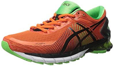ASICS Men's Gel-Kinsei 6 Running Shoe, Fiesta/Black/Green Gecko,