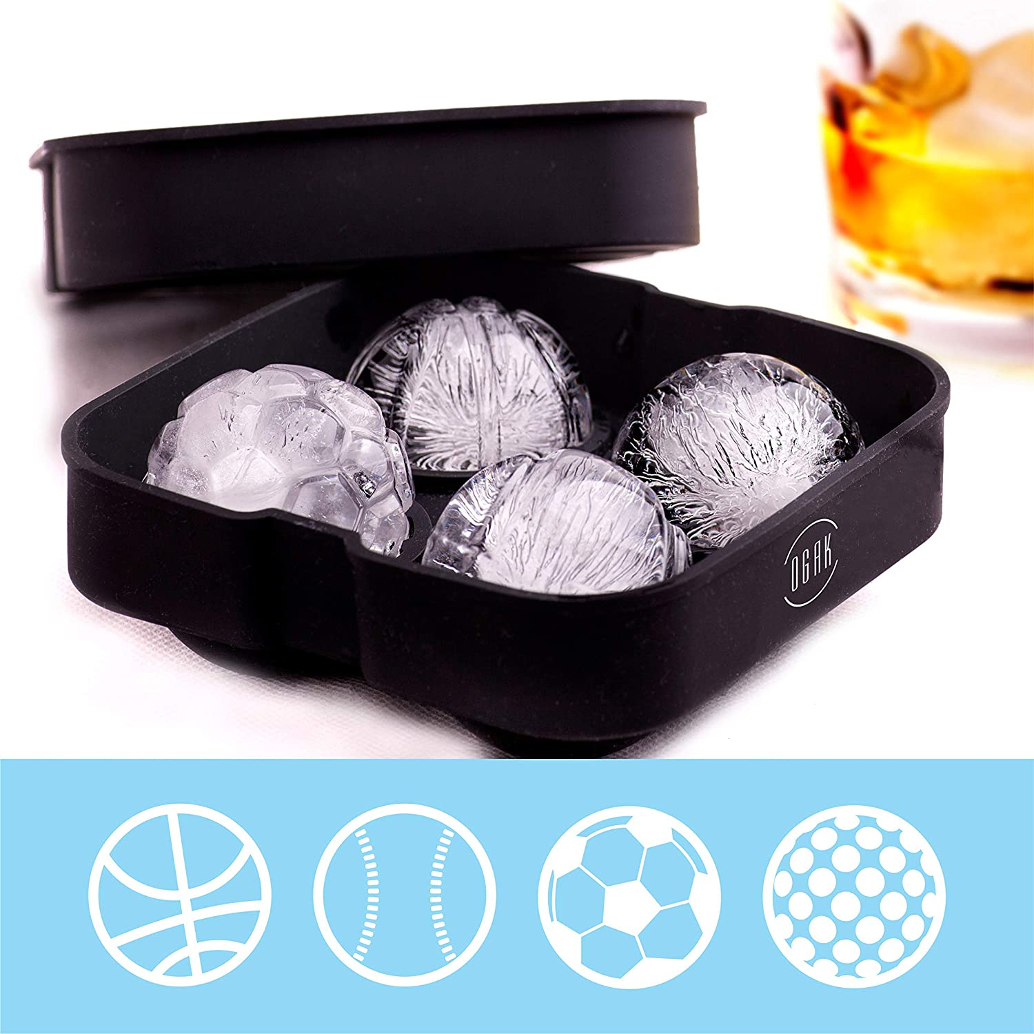 Ice Ball Maker for Whiskey, Silicone Ice Sphere Maker, Ice Mold in Sports Balls Shapes by OGAK