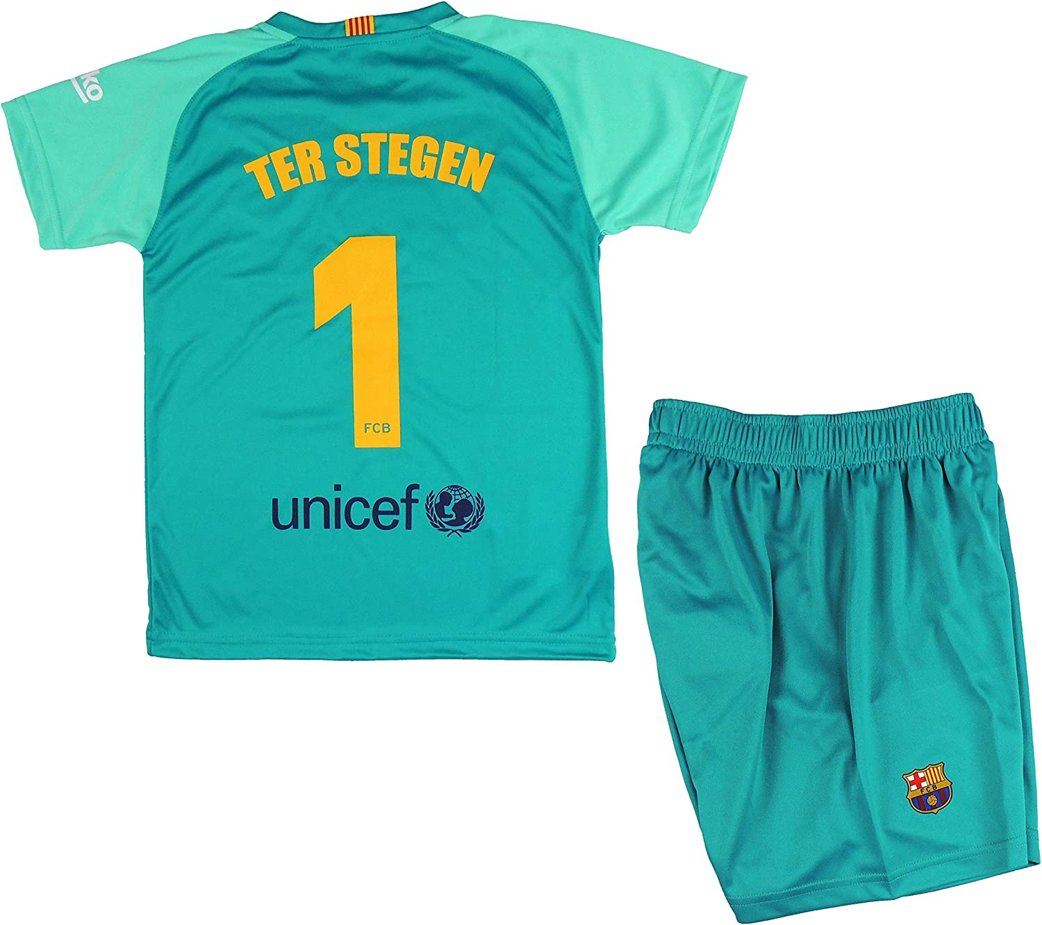 Fcb Set T Shirt And Pants Primera Away Child Ter Stegen Of The Fc Barcelona Product Official Licensed Season 2019 2020 Colour Green Green Size 8 Amazon Co Uk Clothing