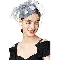 BABEYOND Tea Party Fascinator Hat Pillbox Hat Fascinator Veil Derby Hat Headband (Gray)