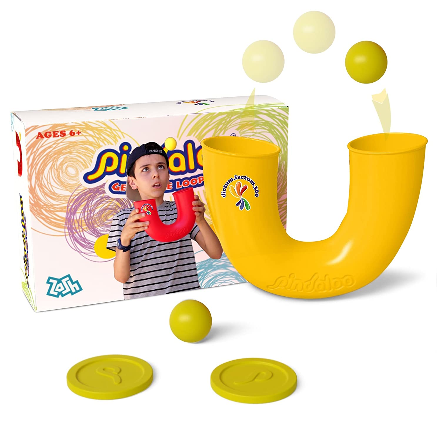 Pindaloo Skill Toy for Kids Adults Develops Creativity Improves Fine Motor Skills Hand Eye Coordination 1 Tube 1 Ball 2 Caps Yellow