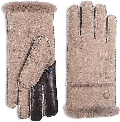 YISEVEN Womens Rugged Sheepskin Shearling Leather Gloves Fur Cuffs