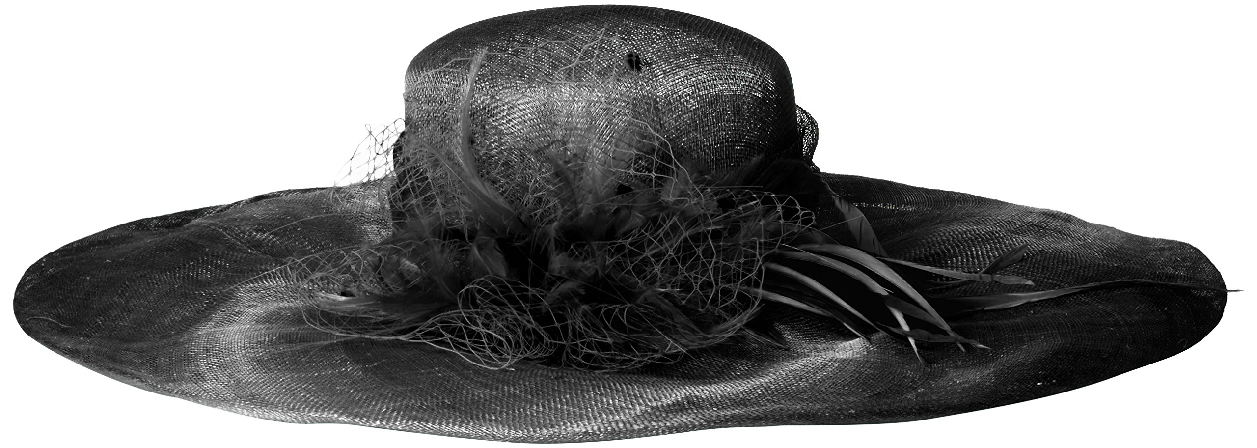 Scala Women's Solid Big Brim Sinamay Hat, Black, One Size