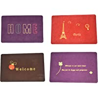 Svaar Combo of 4 Embroidery Doormats, Easy Washable