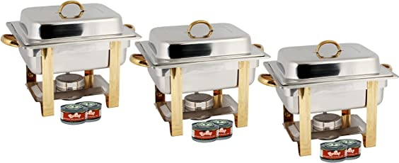 TigerChef TC 20550 Half Size Chafing Dish Buffet Warmer Set Gold Accented Includes