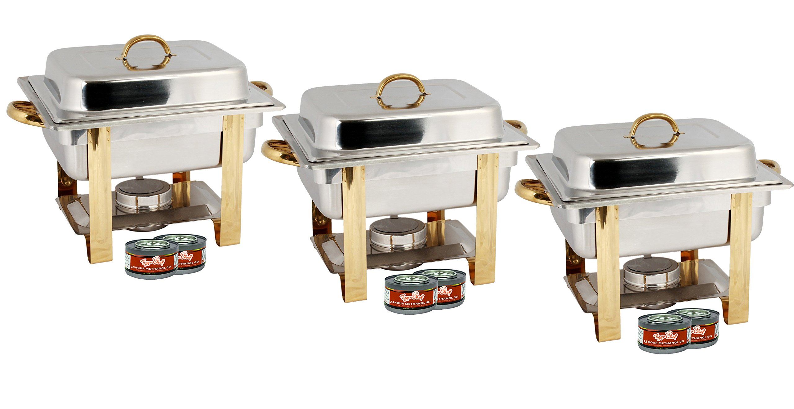 TigerChef TC-20550 Half Size Chafing Dish Buffet Warmer Set, Gold Accented, Includes 6 Free Chafing Fuel Gels, Stainless Steel, 4 Quart