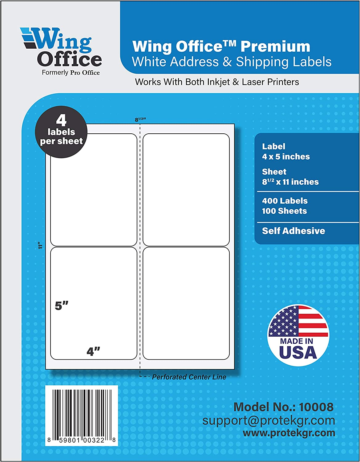 Pro Office Premium 400 Self Adhesive Shipping Labels for Laser Printers and Ink Jet Printers, White, Made in USA, 4 x 5 Inches, Pack of 400