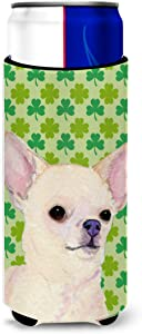 Caroline's Treasures SS4403MUK Chihuahua St. Patrick's Day Shamrock Portrait Ultra Beverage Insulators for slim cans, Slim Can, multicolor