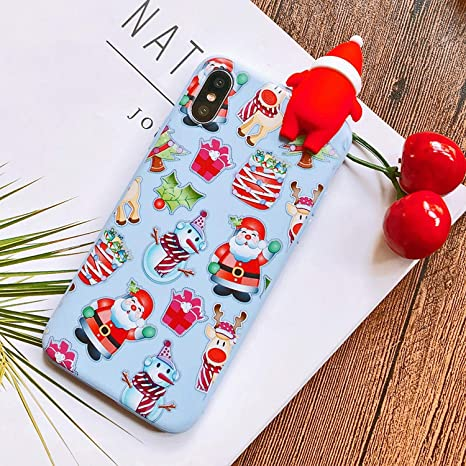 e9cad247361ee8 Amazon.com  Merry Christmas Tree Santa Claus Gift Happy New Year Phone Case  Cartoon Silicone for iPhone 8 7 Plus 6 5S Se 6S X Xr Xs Max Case