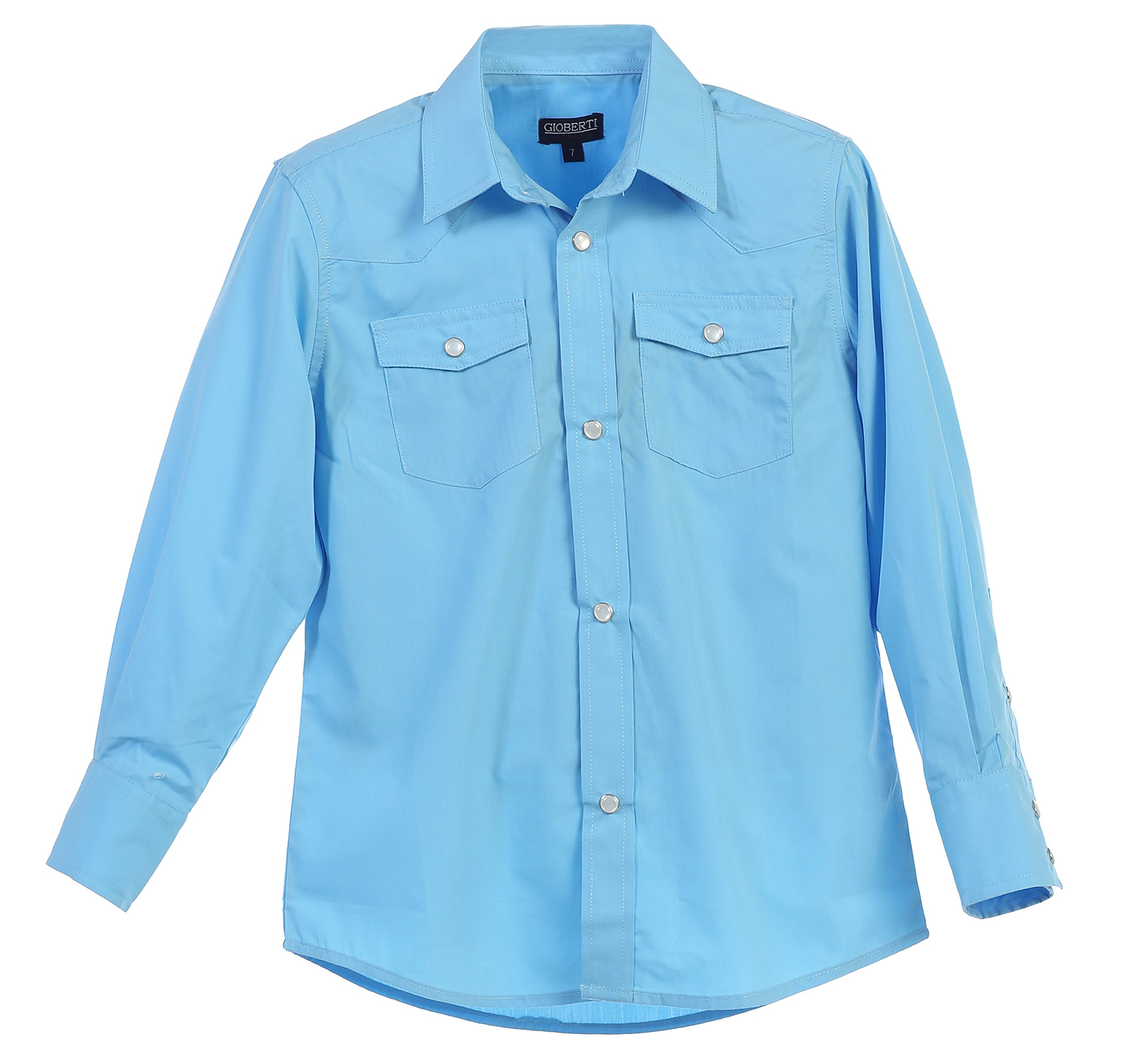 Gioberti Little Boys Casual Western Solid Long Sleeve Shirt With Pearl Snaps, Light Blue, Size 4