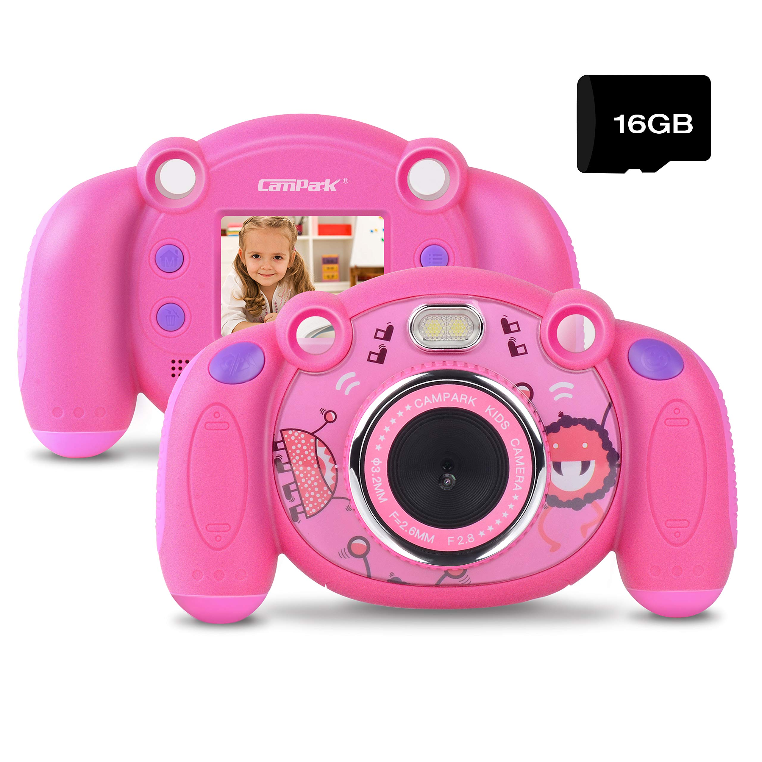 Campark Kids Camera, Mini Child Camcorder with HD LCD Display 16GB Memory Card for Girls Pink Great Birthday Gift by Campark (Image #1)