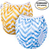 Swim Diaper By Page One, Reusable & Adjustable Fits All Diaper Sizes N-6(0-4 Year Old),Oversized Unisex Diaper Best For Swimming lesson & Baby Shower Gifts(Pack of 2)