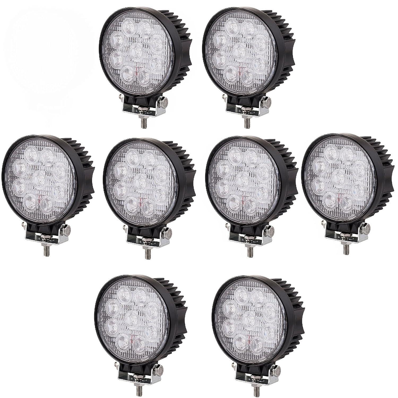 SAILUN Arbeitslicht 4x27W LED Offroad Flutlicht Spotlight Reflektor Scheinwerfer Arbeitsscheinwerfer 1755LM Schwarz Aluminium Druckguss IP67 (4*27W Runden) Generic