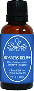 Robbers' Relief: 30mL. (Compare to Thieves by Young Living). A Powerful & Therapeutic Combination of 5 Essential Oils: Clove, Cinnamon, Lemon, Rosemary & Eucalyptus