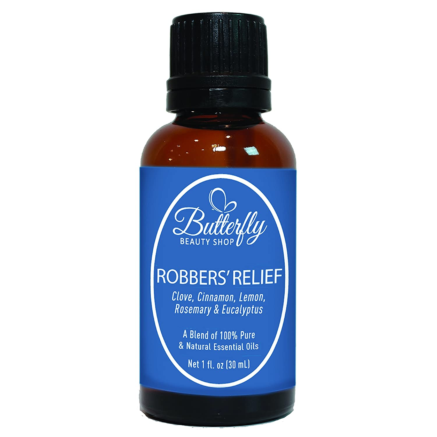 Robbers' Relief: 30mL. (Compare to Thieves by Young Living). A Powerful & Therapeutic Combination of 5 Essential Oils: Clove, Cinnamon, Lemon, Rosemary & Eucalyptus Butterfly Beauty Shop