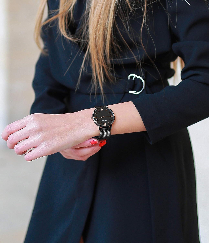 Montre Cristal Or Rose - Mixte - Bracelet milanais Or Rose et Noir / Noir