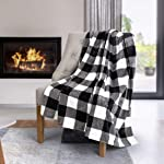 Safdie & Co. Flannel Printed Ribbed 50x60 White Plaid Ultra Soft Throw, Black