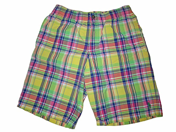 4656f34dd4b09e RALPH LAUREN Polo Mens Plaid Swimwear Swim Trunks Yellow (Medium ...