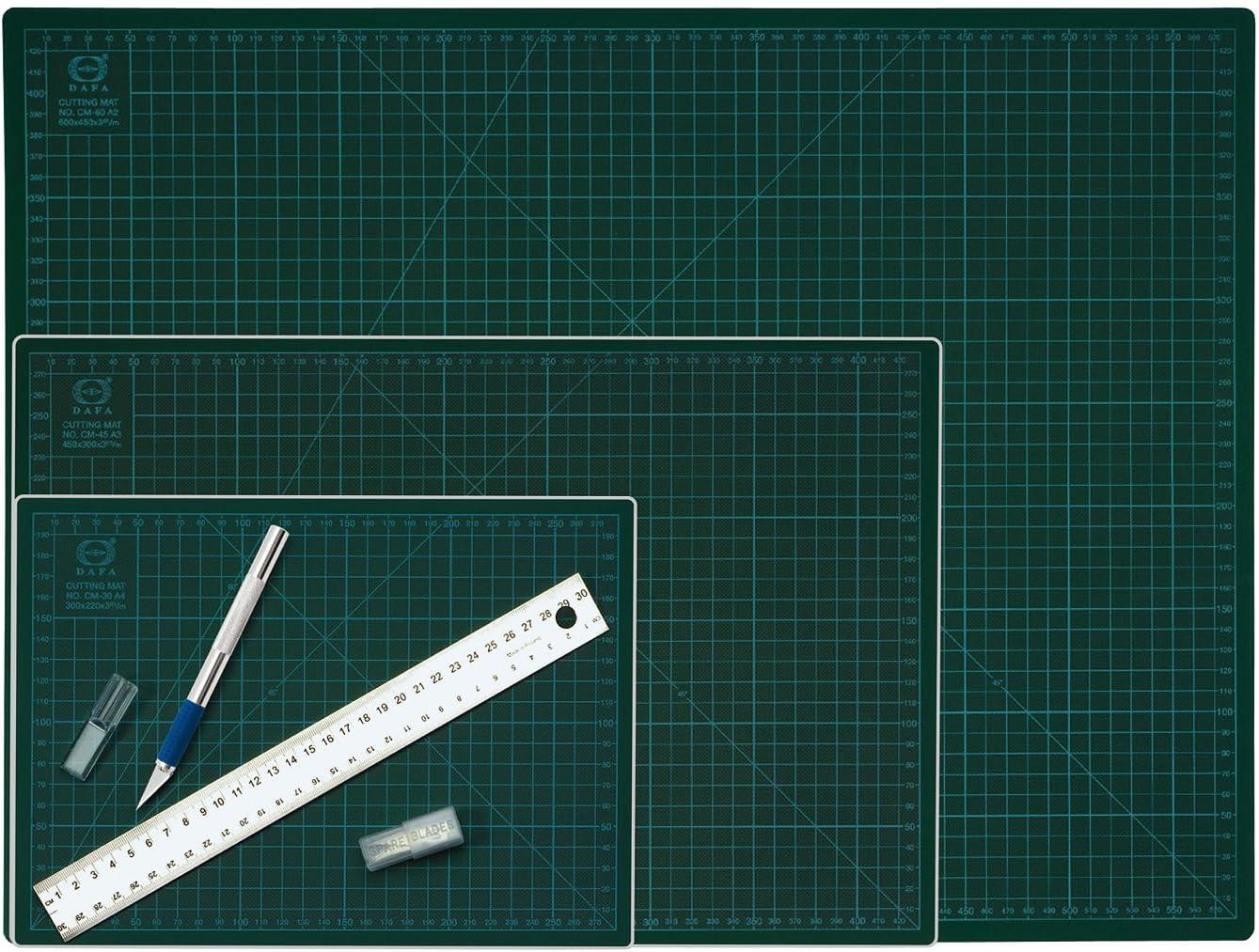 Wedo 79145 Schneideunterlage Cutting Mat A3 silber aus Aluminium CM 45 selbstschlie/ßende Oberfl/äche, 45 x 30 x 0,3 cm gr/ün /& Wedo 78621 Skalpell und Ersatzklingen