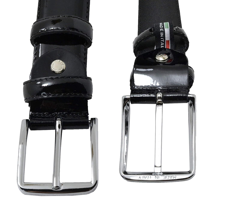 Conte Massimo TAGLIA 54-56 Elegante Con Scatola Regalo Uomo e Donna 125 Made in Italy Cintura In Vera Pelle In Vernice Lucida Fatta a Mano , Nero