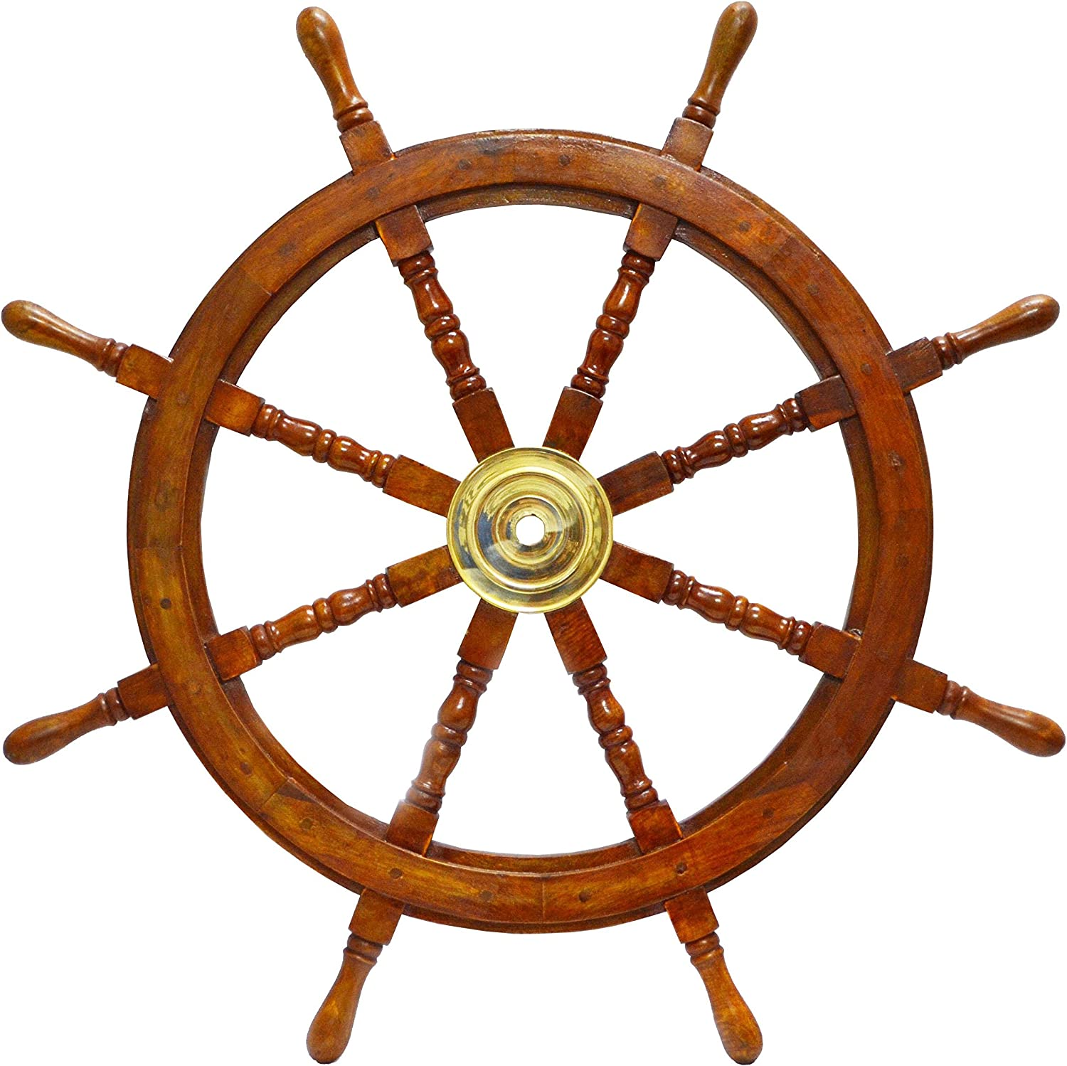 Amazon Com Ship Wheel Ships Steering Wheel Boat Wheel Pirate Ship Wheel Captains Wheel Nautical Decor Wooden Ship Wheel 36 Inch Dia Kitchen Dining