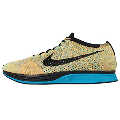 on sale 49301 96fc4 Nike Flyknit Racer Unisex Running Shoe (6.5, Bright Citrus Black Blue Lagoon