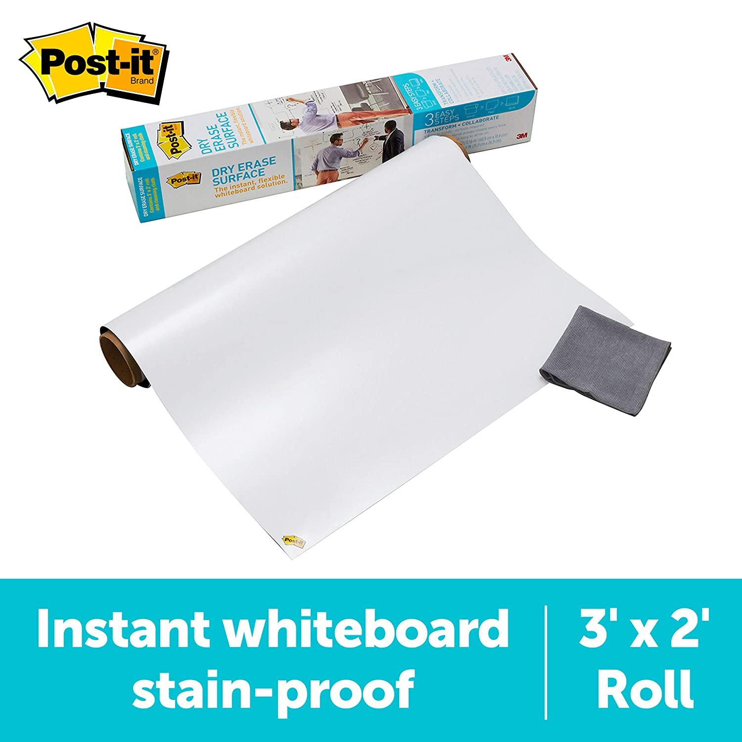 Post-it Dry Erase Surface (3 ft x 2 ft) - Great for Tables, Desks and Other Surfaces