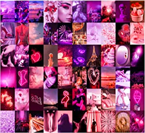 Wall Collage Kit 60 Set by Aesthetic Atmosphere for Wall Aesthetic | 4x6 inch Neon Pink Pictures for Room Decor | Boujee Bedroom Decoration Photos for Teen Girls | Cute VSCO Trendy Dorm Posters