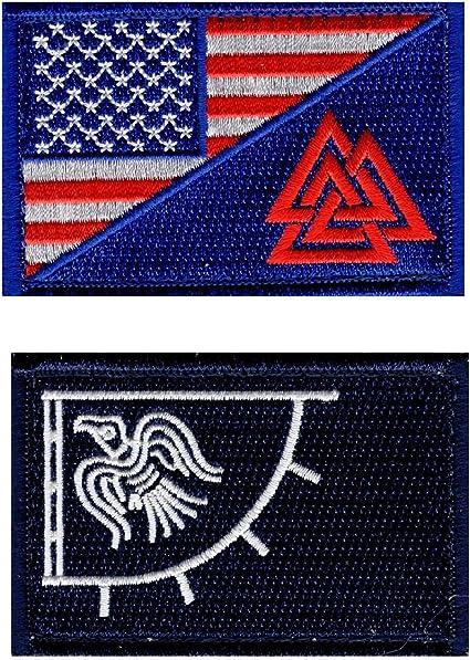 Amazon Com Usa Flag Valknut Viking Valhalla Odin Raven Hook Patch Bundle Blu Drk Navy Arts Crafts Sewing