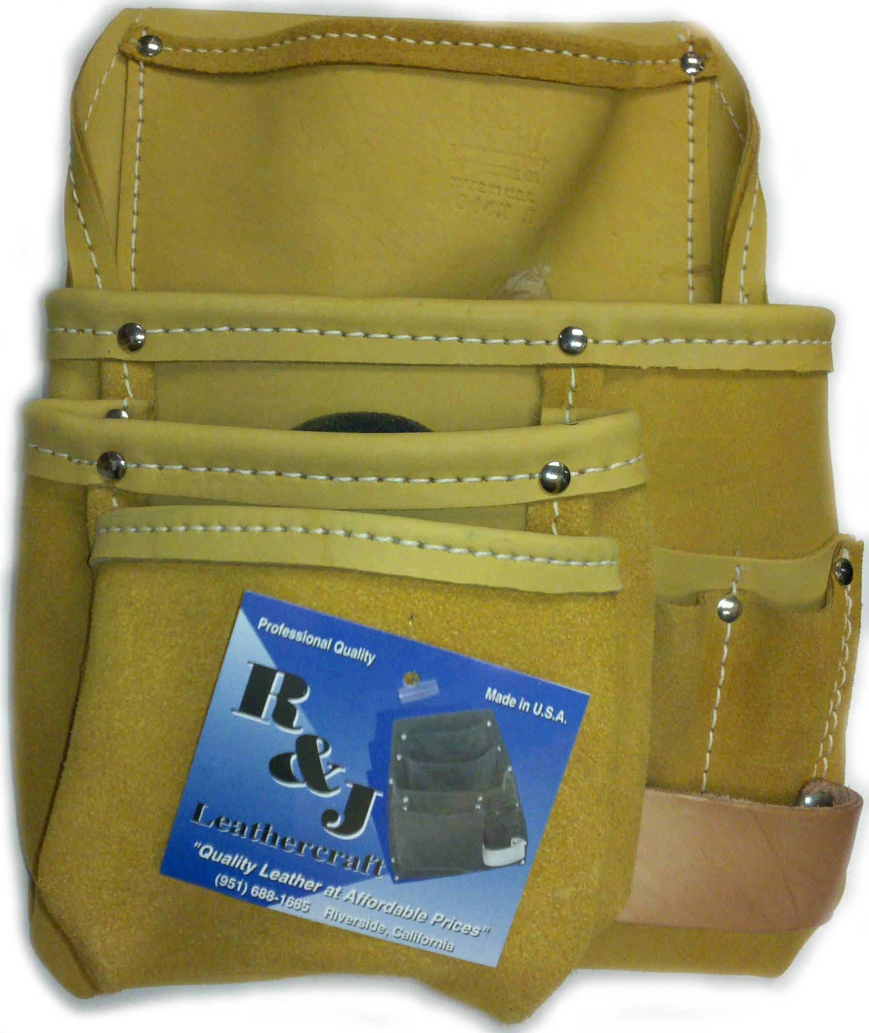 R&J Leathercraft 4-Pocket Extra Large Carpenter Tool Pouch-Right #644XR, Made in USA***