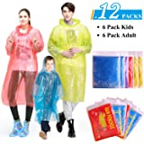 GINMIC Ponchos Family Pack - Rain Ponchos for Kids and Adults, Assorted Colors, Extra Thick 0.03mm, Disposable Emergency…