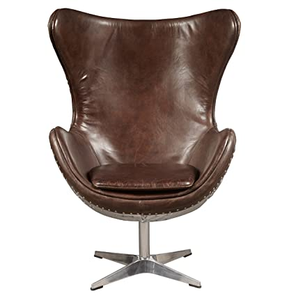 Pulaski P006210 Modern Industrial Metal And Leather Swivel Egg Chair